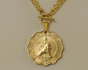 Paraguay Coin Jewelry 1953 Seated Lion Necklace