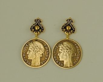 French Coin Earrings 1941