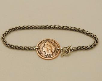 Indian Head Penny Coin Bracelet 1900
