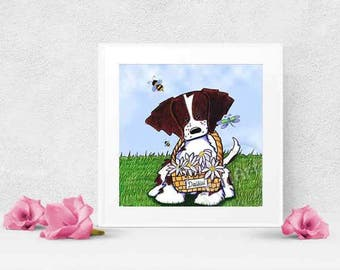 Choice of KiniArt Brittany Dog Art PRINT Signed Reproduction