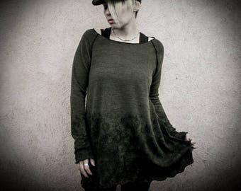 AREFU - Mud Green Loose Sweater, woman long Pullover, Long loose Top Grunge Post apocalyptic Woodland Military Alternative Clothing