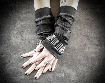 W22 - Black Arm Warmers Cyberpunk Dystopian Accessory, Black Camouflage Vegan Suede Triangles, Alternative Ooak Dark Fashion hand cuffs