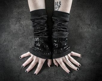 W42 - Binary code arm warmers, rock accessory, cyberpunk arm sleeves, alternative forearm cuffs