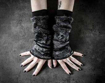 W40 - Dirty Arm Warmers, black and gray decay cuffs, grunge arm sleeves, dystopian alternative accessory