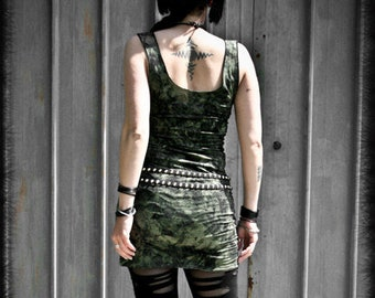 DUSTY - Military green Short tube Dress, Post Apocalyptic Wasteland, Tube dress Grunge Punk Rock, Handmade painted Alternative Clothing