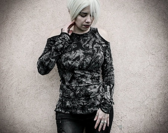 DUSTY - Holes on shoulders dirty shirt, horror punk cotton painted top, Alternative Clothing post apocalyptic