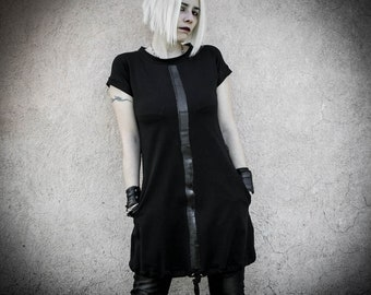 MALEKEN - Cotton black dress with pockets, adjustable length Cyberpunk Tunic, dark fashion rock women clothing