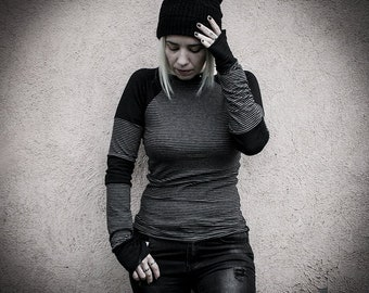 Long sleeve shirt with black and grey stripes and thumb hole, punk rock grunge clothing alternative women