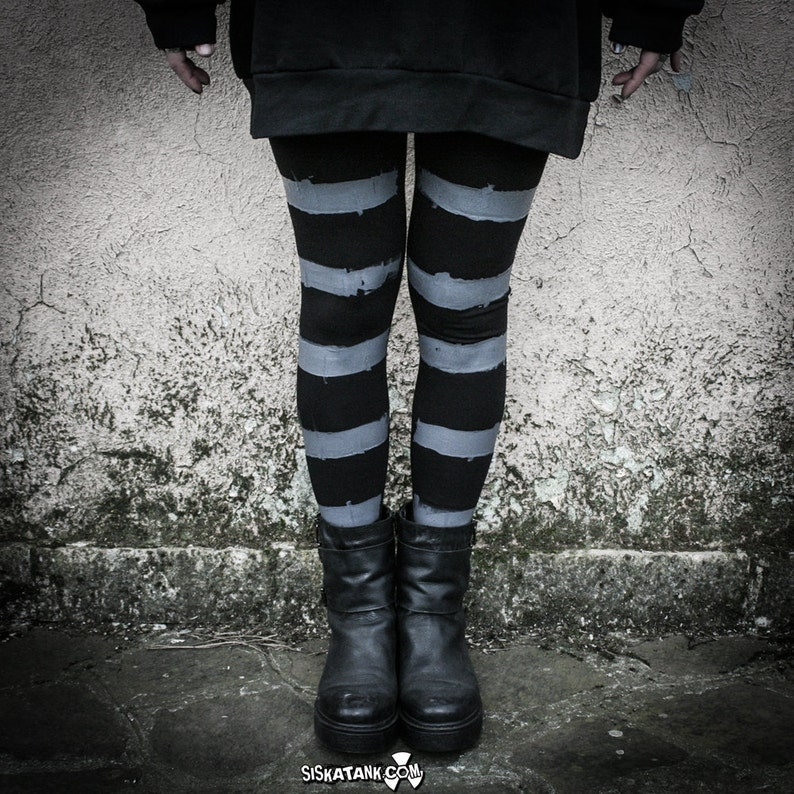 5c716e6811301 HAIIRO Striped Leggings black and grey cyberpunk industrial | Etsy