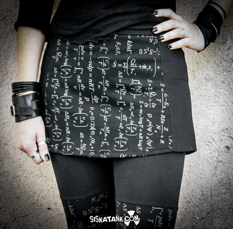 Printed Mini Skirt math clothing alternative women Geek Chic short Skirt Science and tech print ENTROPY