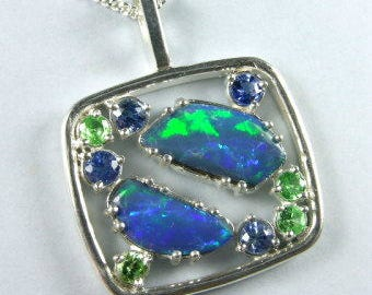 Australian opal pendant with natural blue sapphires and tsavorite garnets in Argentium 935 silver
