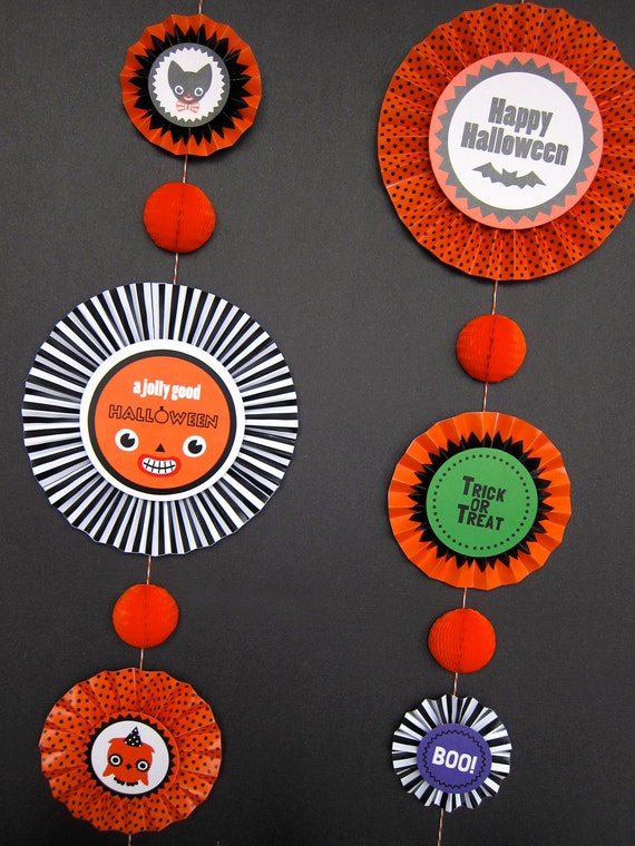 Halloween Party Rosette Decorations Printable Paper Crafts Pdf Etsy