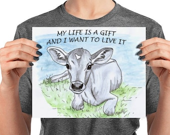 Vegan Art Watercolor Animal Rights Poster