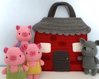 Amigurumi Crochet Three Little Pigs Playset Pattern Digital Download