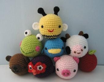 Amigurumi Crochet Animal Toys for Baby Pattern Digital Download