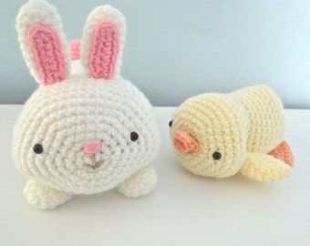 Sale - Amigurumi Crochet Bunny and Chick Easter Pattern Set Digital Download