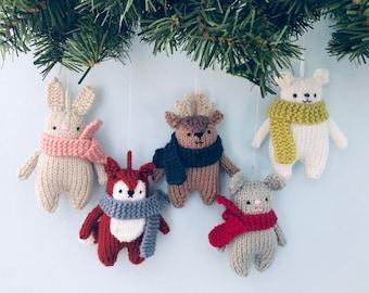 Amigurumi Knit Christmas Winter Animals Ornament Pattern Set Digital Download