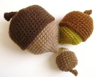 Amigurumi Crochet Nesting Acorns Pattern Digital Download