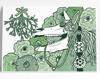 Mari Lwyd Head Print