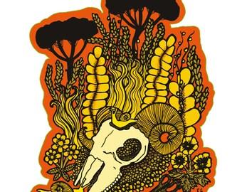 Vinyl sheep skull sticker (10cm)