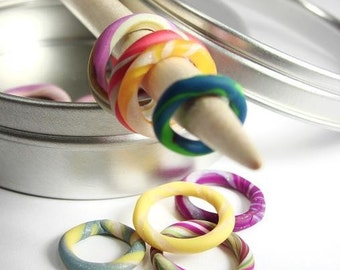 Ring stitch markers BIG assortment in a handy little tin