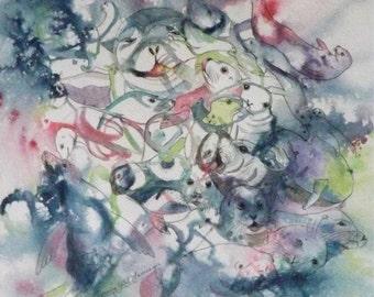 Seal Art  Painting Original Watercolor Interlocking Seals manatee Nursery decor Home Decor