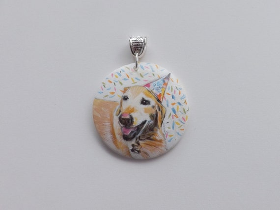 Pet Watercolor ceramic pendant painted by Helen  Custom Painting Holiday Special Gift