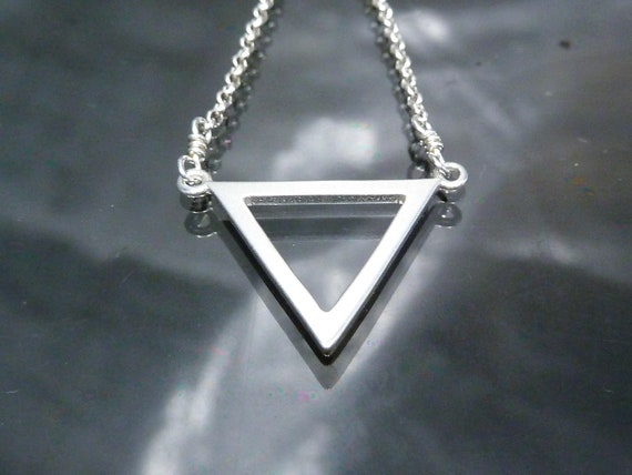Geometric Silver Pearl Pendant  925 Sterling Silver  Hammered Triangle Shape
