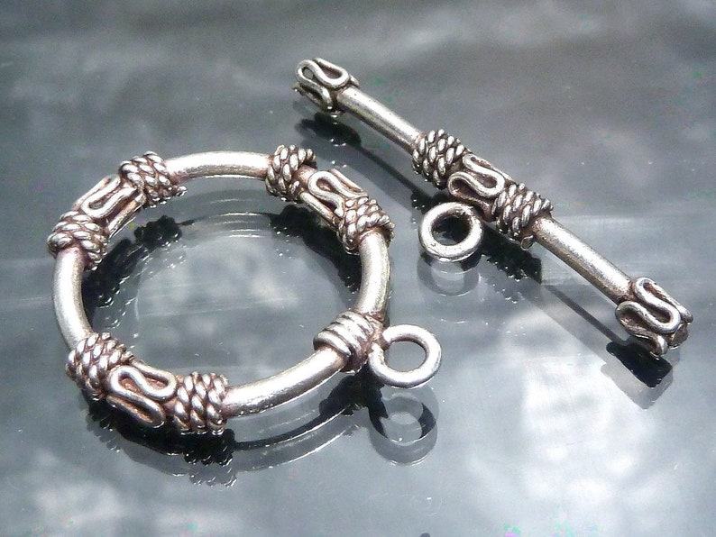 Big Bali Sterling Silver Toggle Clasp Round Bar Hoop 23mm Etsy