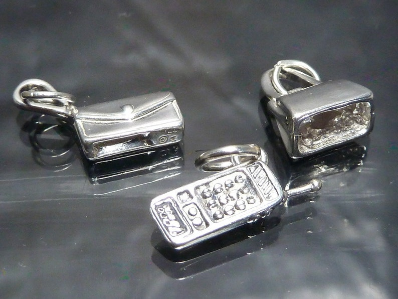 Purse Cell Phone Shopping Sterling Silver Charms Purse handbag /& cellphone lot bracelet jewelry making wholesale