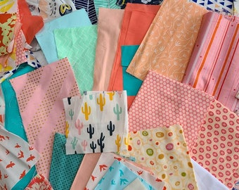 Modern Quilt Top Kit Over 4 Yards Total, Designer Scraps, Bundle Quilting Cotton Destash. Pink, Peach, Blue Yellow, Flowers, Geometric.