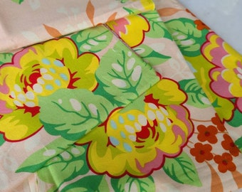 Over 1 and 1/4 Yard by Weight Pop Garden Rose Bouquet in Peach by Heather Bailey Hard To Find, Out of Print Quilting Cotton Freespirit