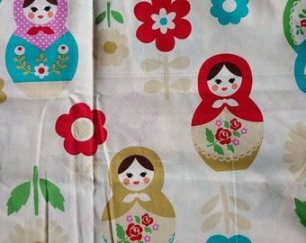 2.5 Yards Kokka Trefle - Russian Nesting Dolls and Flowers HRA21300-1 - Red Green Pink Blue- Japanese Imported Fabric