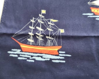 1 Yard Piece Pirate Ship in Sail Boat Navy Fabric from Sarah Jane for Michael Miller Fabrics Out to Sea