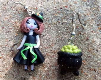 Witch And Cauldron Halloween Asymmetric Earrings One Of A Kind