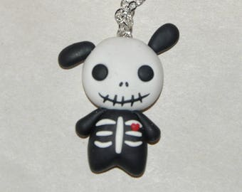 Spooky Skeleton Bunny Necklace - Skeleton Bunny, Gothic Macabre Necklace for Day of the Dead, Jack O Skelebunny