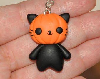 Pumpkin Cat Halloween Necklace - Creepy Cute Necklace Handmade with Polymer Clay, Spooky Scary Orange Autumn Fall Kawaii Jewelry
