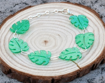 Resin Bracelet with Monstera Leaves - Adjustable with Glitter Tropical Palm Leaf
