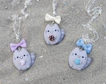 Necklace Grey Cat with wool ball or donut - pet lovers jewelry with matching ribbon