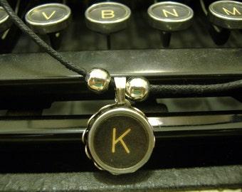 K INITIAL Vintage TYPEWRITER Key NECKLACE Black Key Retro Fun