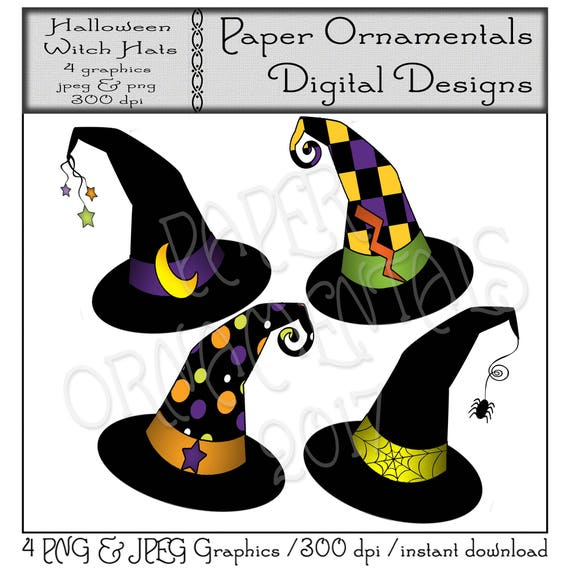 Halloween Clip Art Cute Witch Hat Clipart Instant Download Etsy