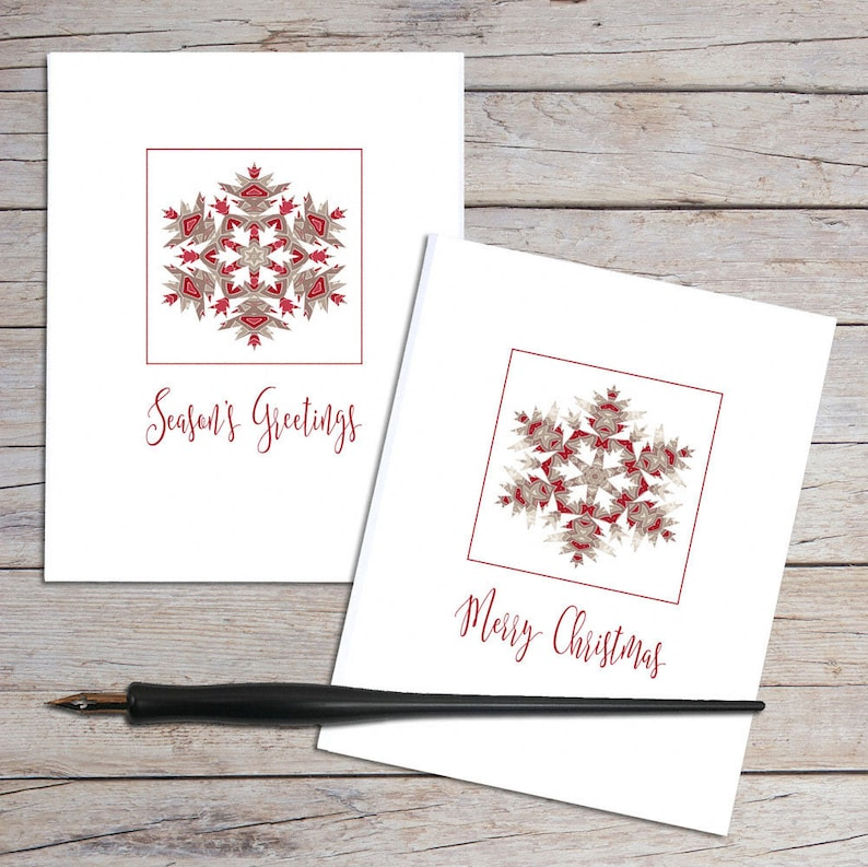 Christmas Notecard.Personalized Note Cards Holiday Cards Christmas Notecard Stationery Snowflake Design Blank Note Card Red And Brown Geometric Pattern