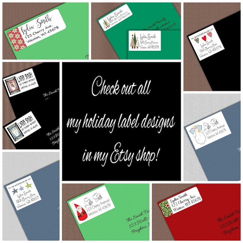 Red and Blue Holiday Snowflake Envelope Stickers And Custom Gift Tag Set Personalized Christmas Address Labels