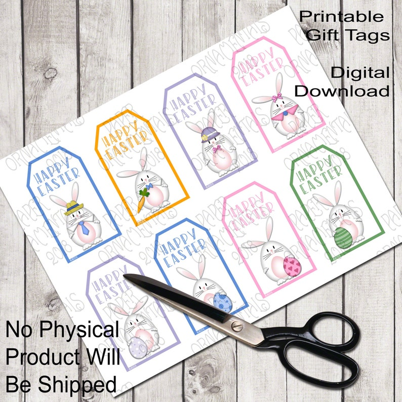 3928ef22ce2e Printable Gift Tags, Easter Bunny Favor Tags, White Rabbit Cute Holiday  Gift Tags, Happy Easter Digital Tags With Girl Bunnies Boy Bunny