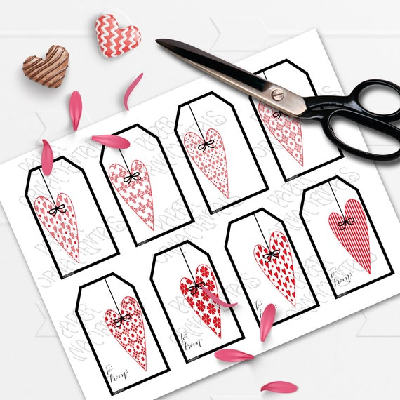 Valentine's Day Printable Gift Tags With Red And White