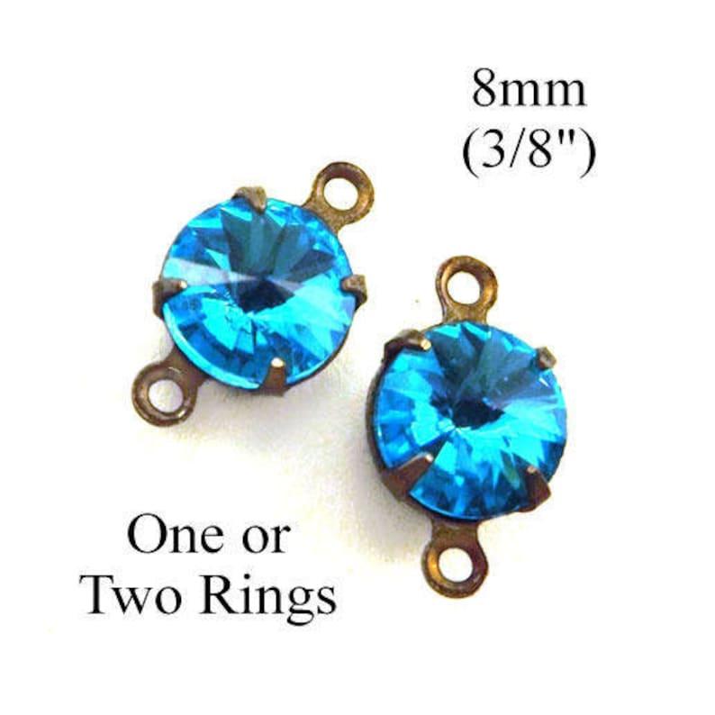 aquamarine glass gems with rivoli faceting Aqua round glass beads 8mm round rhinestone earrings or tiny pendants