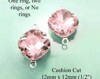 Pink glass beads, 12x12mm cushion cut octagons, rhinestone pendants, glass connectors or earrings, 2 pc