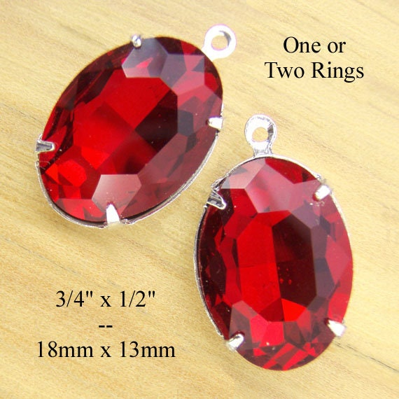 ruby red faceted rhinestone oval pendants or earrings