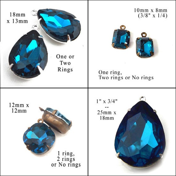 blue zircon glass jewels avaiilable in my online jewelry supplies shop