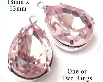 Pink Glass Beads - 18x13 Teardrop or Pear - Rhinestone Pendants or Earring Jewels - Rose Pink Glass Gems - 18mm x 13mm - One Pair